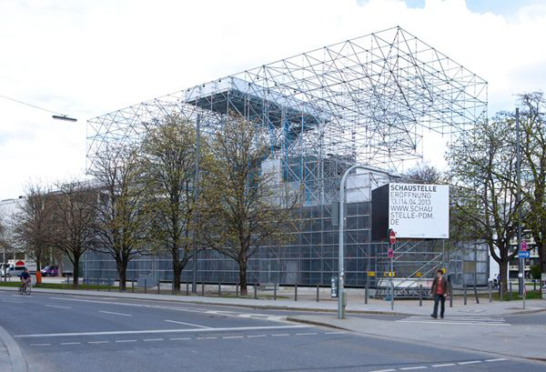 Temporary, temporary exhibition, scaffolding, J.Majer H., J.Majer H.Architects, Pinakothek der Moderne, Munich, platform, exhibition space, ...