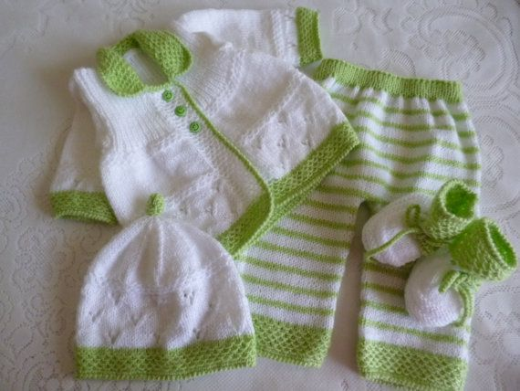 Knitted Unisex Baby Set 0 to 3 Months Antiallergic Yarn by Pitusa, $73.00