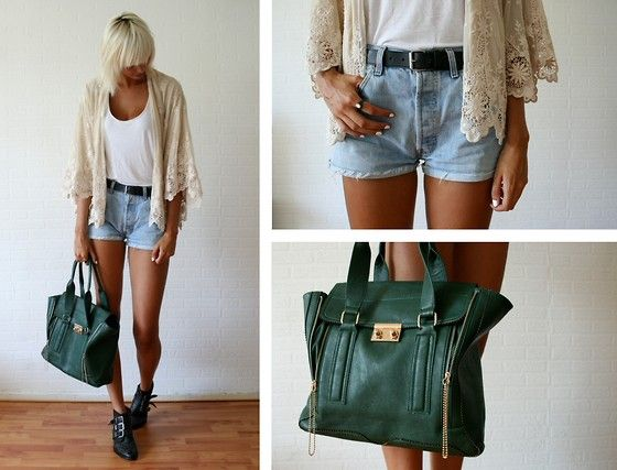 Crochet  (by Sietske L) http://lookbook.nu/look/3805253-Crochet: Style Green, Fashion, Clothes, Cardigan, Green Bags, Color Palette, Green Purse