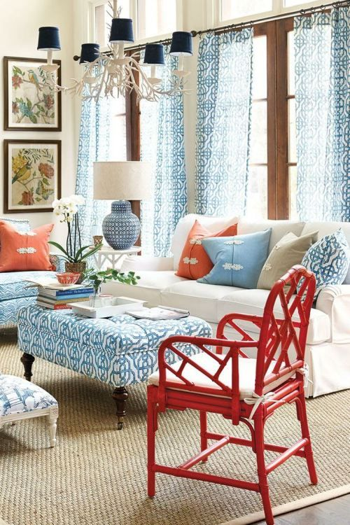 Red, white and blue decor in a coastal living room
