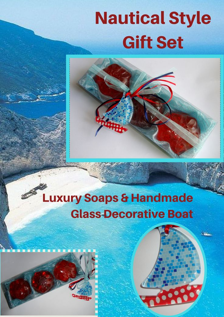Unique Handmade Gift Set with 3 Luxury Scented Soaps in dark Red Color and Red Grape perfume and an exclusive handmade glass decorative boat in the packaging. The glass decorative Boat can be used as wall ornament.  A very elegant, stylish gift for any occasion: any Celebration, any Ceremony, Anniversary, Mothers/ Fathers Day, Anniversary, Feast, Birthday, Party.......