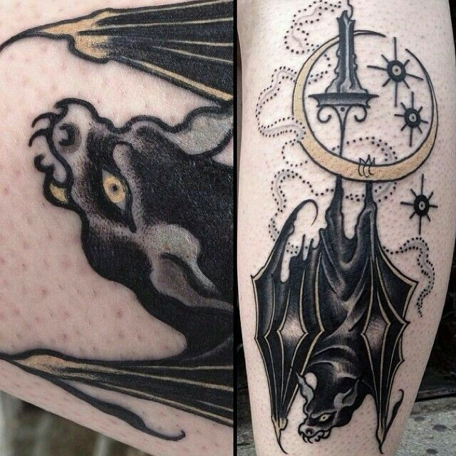 368 best tatuajes images on pinterest design tattoos for Bat moon tattoo