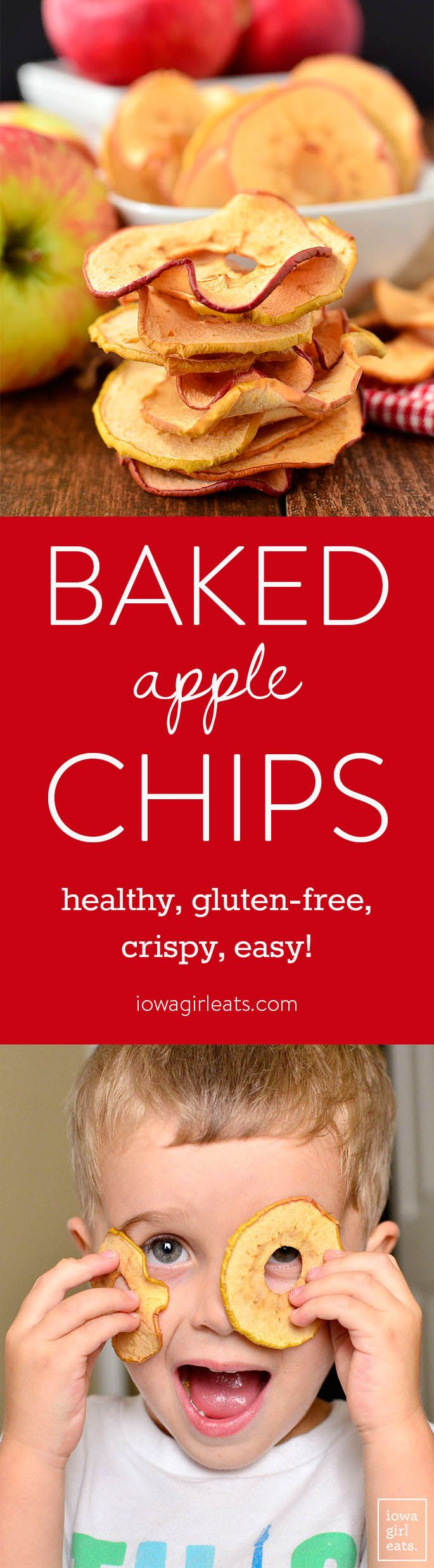 Baked Apple Chips are a healthy snack recipe that will satisfy your craving for something sweet and crunchy. Just slice, bake, and eat! | iowagirleats.com