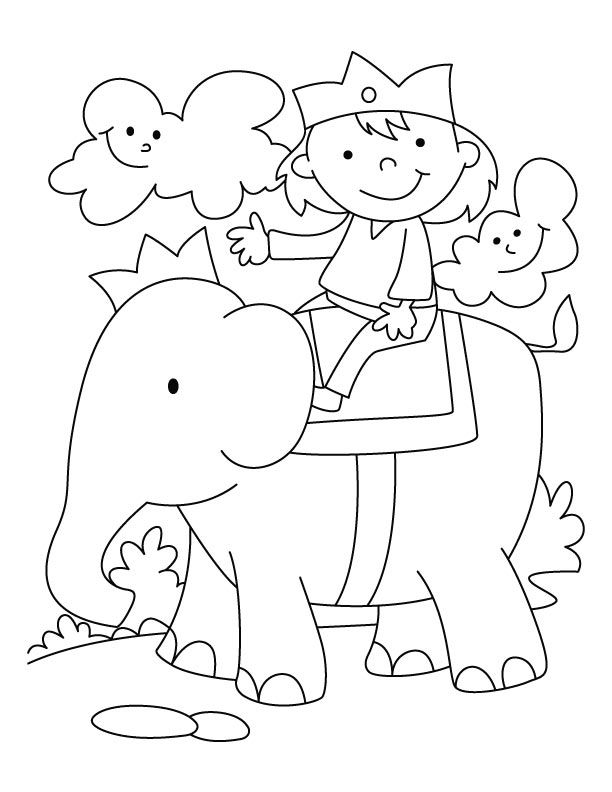 Child Riding An Elephant Coloring Page For Kids