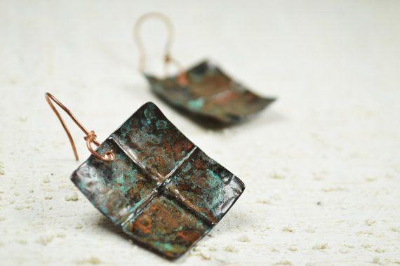 Copper earrings copper foldforming copper jewelry by Violanima