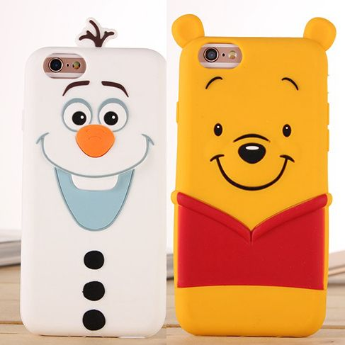 New Cartoon Silicone Winnie Pooh Olaf Fundas Cover For Coque Iphone 7 5 5s SE 6 s plus Winnie Olaf Soft Cover Capa Para Capinhas