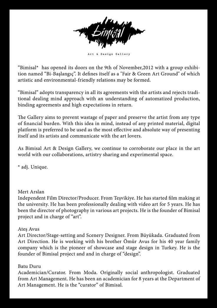 Bimisal Art & Design Gallery Mert Arslan, Ates Avus, Batu Duru