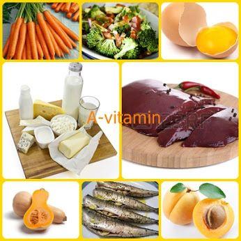 A-vitamin-tartalmú élelmiszerek  A-vitamint tartalmaz a tej és a tejtermékek (főleg vaj, tejszín), a belsőségek (főleg a máj), a tojássárgája, a tengeri halak, a sötétzöld levélzöldségek (pl. saláta, brokkoli), a sárga zöldségek (pl. sárgarépa, sütőtök) és sárga gyümölcsök (pl. kajszibarack)