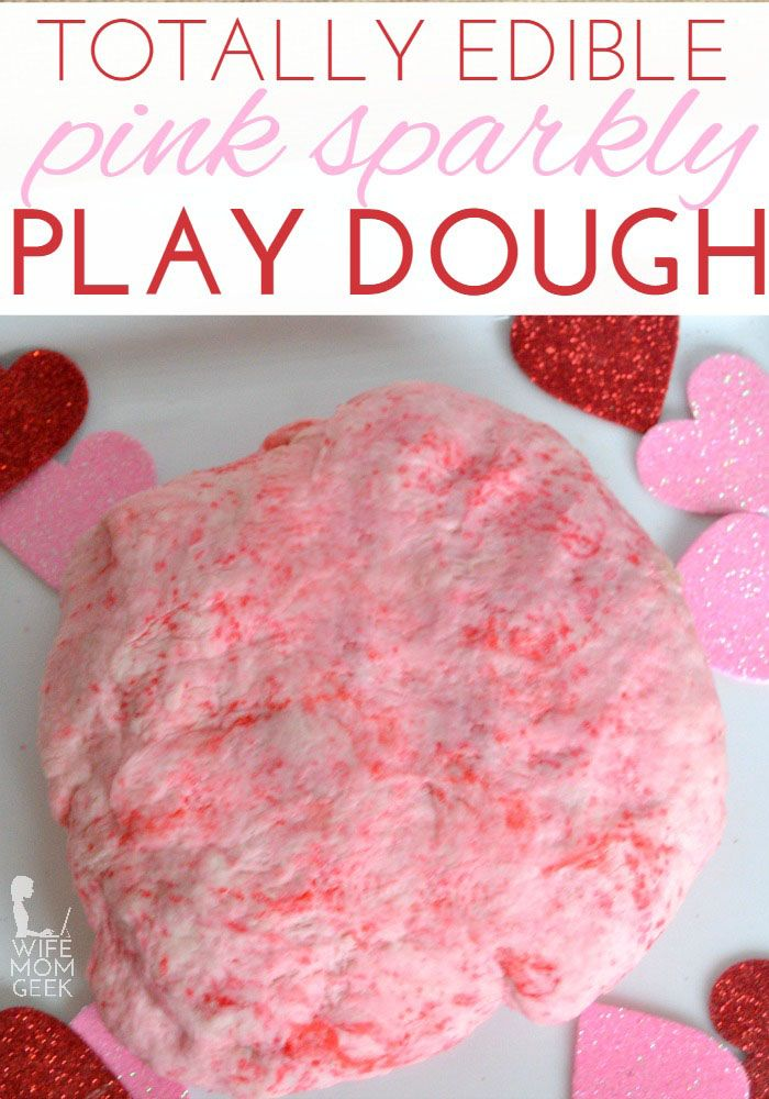 Edible Pink Play Dough for Valentine's Day