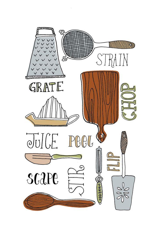 Kitchen tools drawing - New Work Retro Kitchen