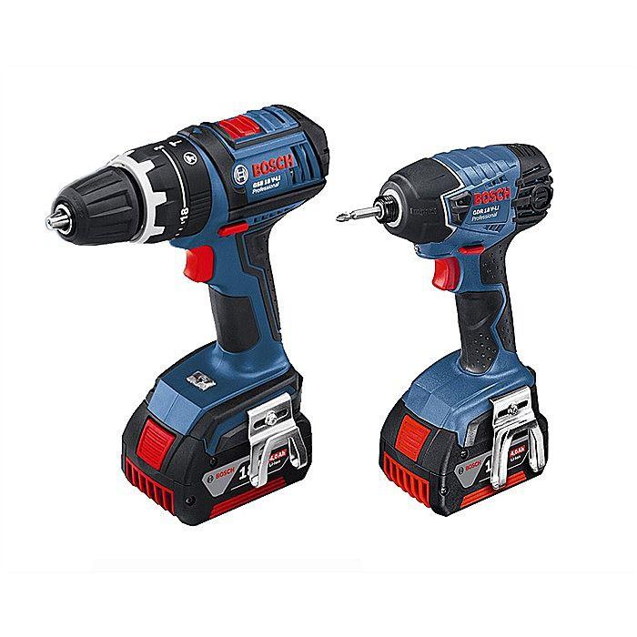 Bosch 18V Cordless Hammer Drill & Impact Driver 4.0 Ah GSB18VLI And GDR18VLI.