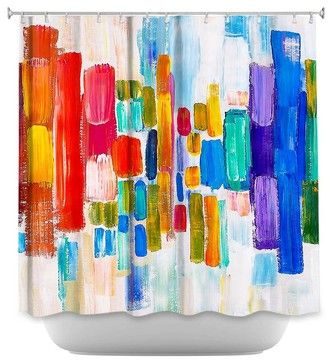Shower Curtain Artistic Color Blocks - contemporary - Shower Curtains - DiaNoche Designs