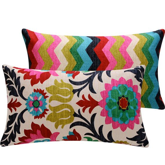 Colorful Floral Chevon Throw Pillow Cover Lumbar 12x20 Decorative Pillow - Featured in Etsy Finds, Cinco de Mayo Collection