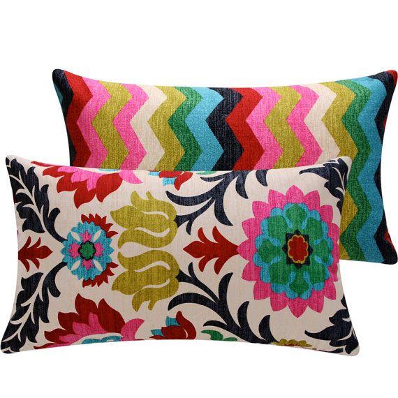 Colorful Floral Chevon Throw Pillow Cover Lumbar 12x20 Decorative Pillow, Cinco de Mayo Collection. $44.00, via Etsy.