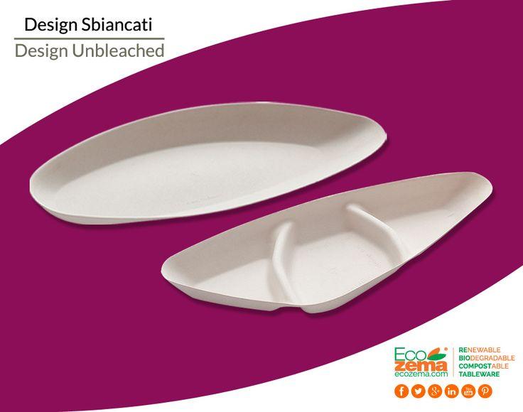 Design Food Line: Biodegradable & Compostable bleached Cellulose Pulp design plates - Piatti design in polpa di cellulosa sbiancata biodegradabili e compostabili