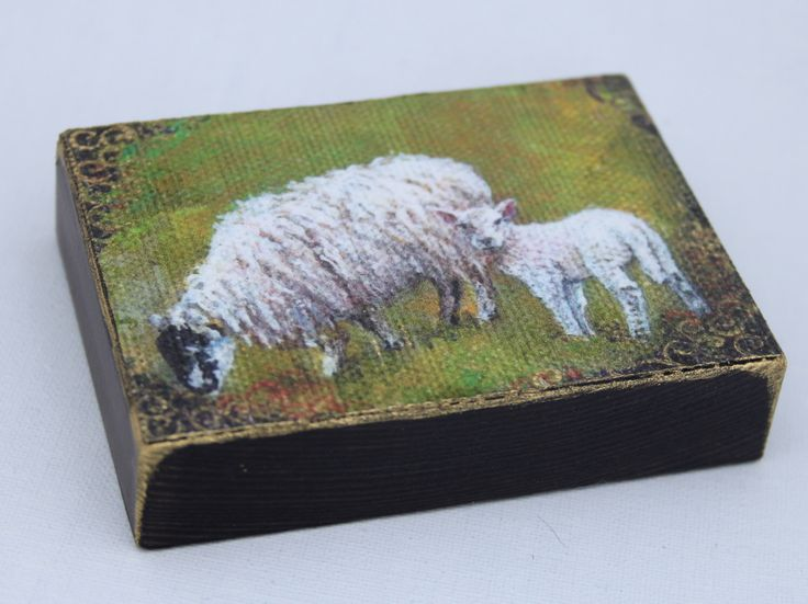 Mother and lamb Aceo wood block, Easter gift, Folk art lamb portrait. Mother's Day, Rustic wood art, Aceo sheep Hand Finished miniature by TheArtBoat on Etsy https://www.etsy.com/listing/223928098/mother-and-lamb-aceo-wood-block-easter
