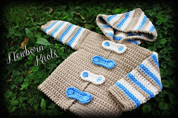 CROCHET PATTERN for Baby Boy or Girl Striped Hoodie Sweater/Cardigan. Pattern number 027. Instant Download on Etsy, $4.46