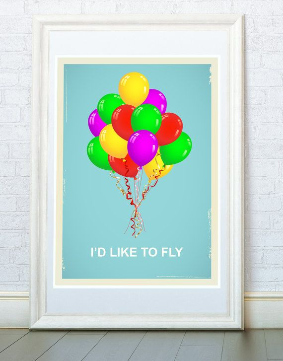 I'd like to fly. Ispirational quotes. Colorful by ReStyleGraphic