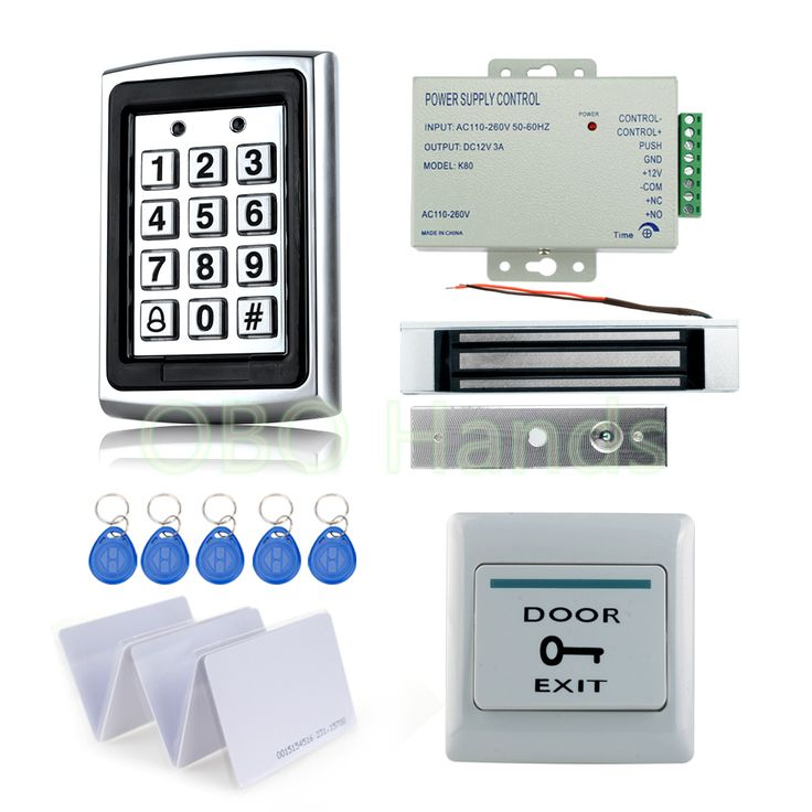 Full RFID Door Access Control System Kit Set metal access control keypad with 180KG magnetic lock+power+exit switch+10 key cards