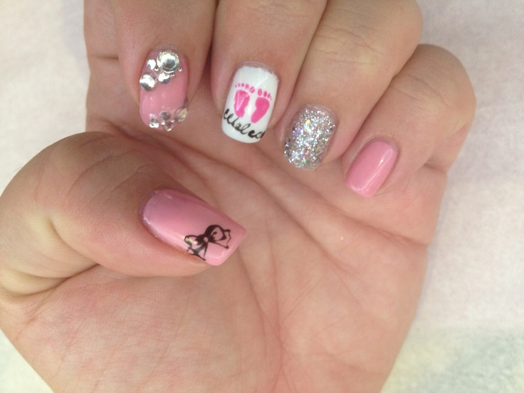 10 best baby shower nails images on pinterest foot prints its a girl nails prinsesfo Gallery