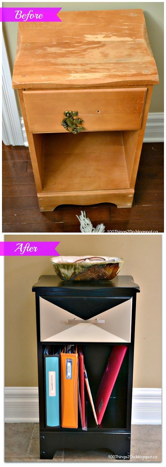 Night stand / night table / bedside table makeover. Refinished and Repurposed to a drop station at the front door.  Holds keys and homework in one small space!