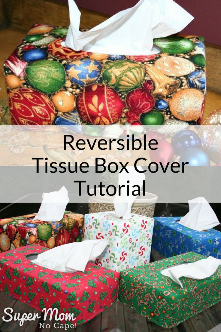 No more ugly tissue boxes! Sew up a bunch of these reversible tissue box covers... Christmas on one side, Valentine's on the other. Complete step-by-step instructions for lots of detailed photos.#sewing #tutorial #sewingprojects #sewingtutorial #DIYgiftideas #diygifts #homedecor #homedecorideas
