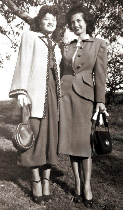 Fashionable 1940's Women suit skirt jacket coat blouse purse shoes hair vintage fashion style found photo street print 40s war era ~