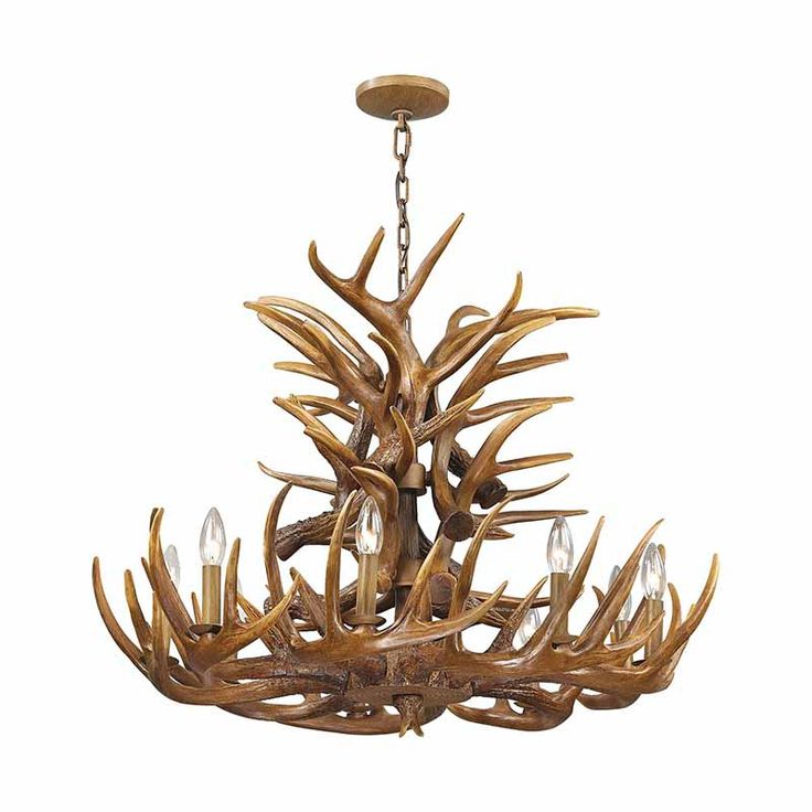 Wood Brown Finish Resin Elk Horn Chandelier Elk 16316 9  Nature Accented Nine Light Chandelier with Brown Finish The Elk chandelier will give any space the feeling of the great outdoors. Finished in Wood Brown.