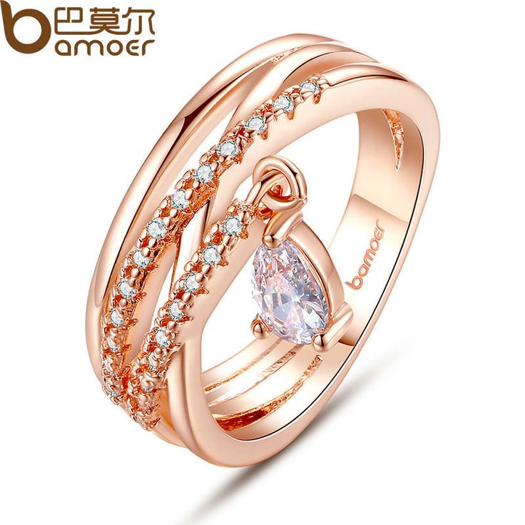 BAMOER Gold Color Bohemia Ring for Lady Wedding with Water Drop Pendant Special Store Jewelry JIR054 //Price: $6.99 & FREE Shipping //     #hashtag4