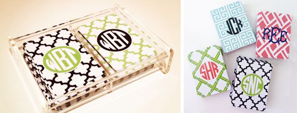 Monogrammed playing cards - could be cute for an engagement party or your bridal party!