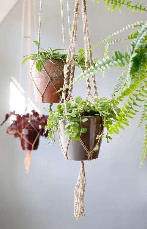 KARWEI | De retro planthouder is terug van weggeweest! Bespaar ruimte en geef je woonkamer een speels effect door kamerplanten in zelfgemaakte hangers te plaatsen.