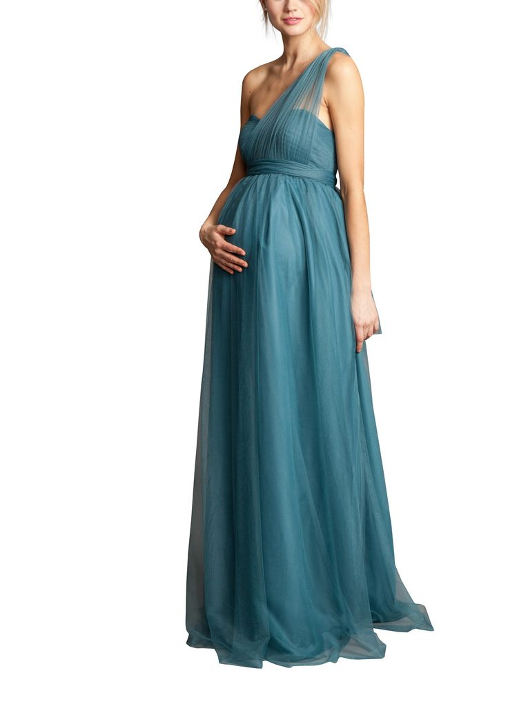 DescriptionJenny YooSerafinaFull lengthmaternity bridesmaid dressShirred strapless sweetheart necklinewith convertible panels create multiple necklinesEmpire waist and full A-Line shape accommodateany baby bump!Soft Tulle