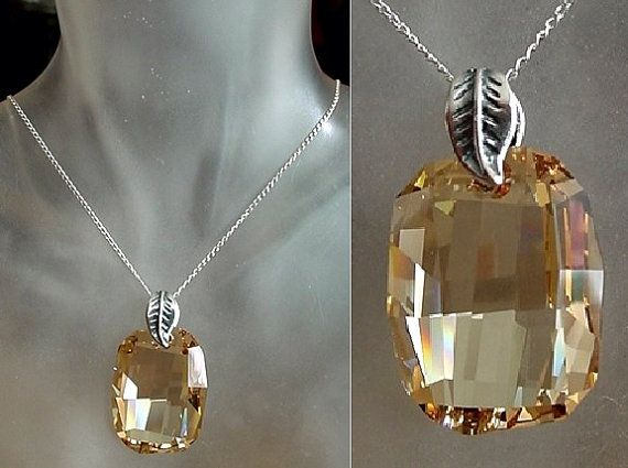 Champagne Color Swarovski's Crystal Pendant c/w by camexinc