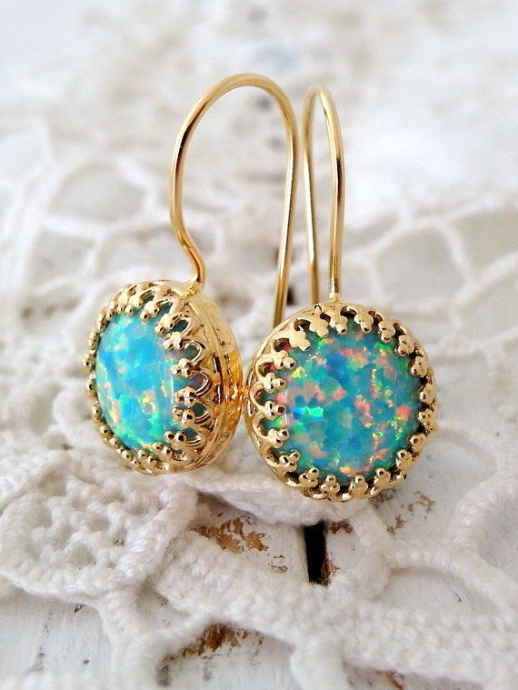 Opal earrings Mint opal earrings Dangle by EldorTinaJewelry | http://etsy.me/1Oa9ZfF