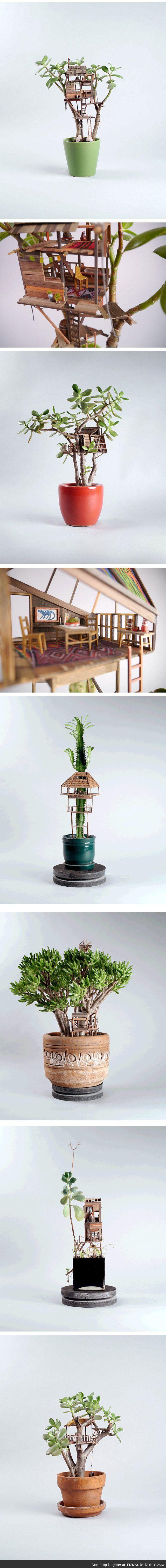 Miniature Tree Houses Make Houseplants Way More Interesting