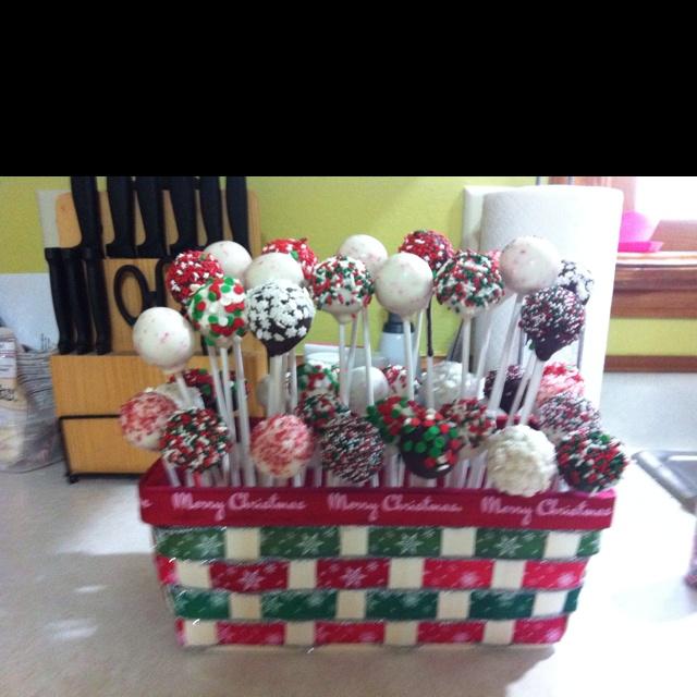 Christmas cake pop basket Christmas ideas Pinterest