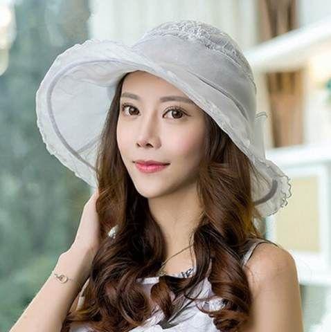 Flouncing silk sun hat for women with bow wide brim sun hats UV