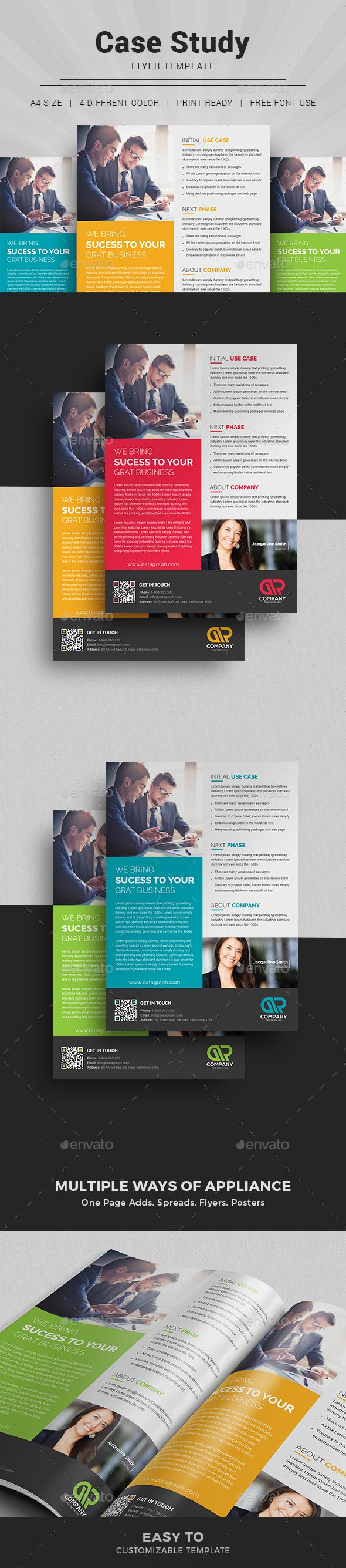 Case Study Flyer Template suitable for presenting your case studies in a professional way. You can use this template in multipurpose way like flyer, newsletter, printed portfolio or other editorial designs