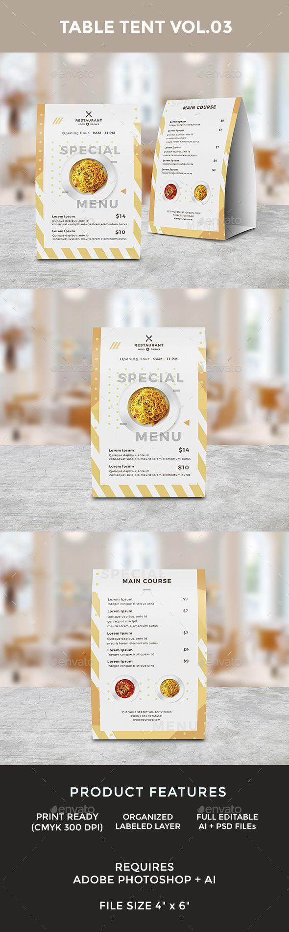 Food Menu Table Tent Template PSD, AI Illustrator