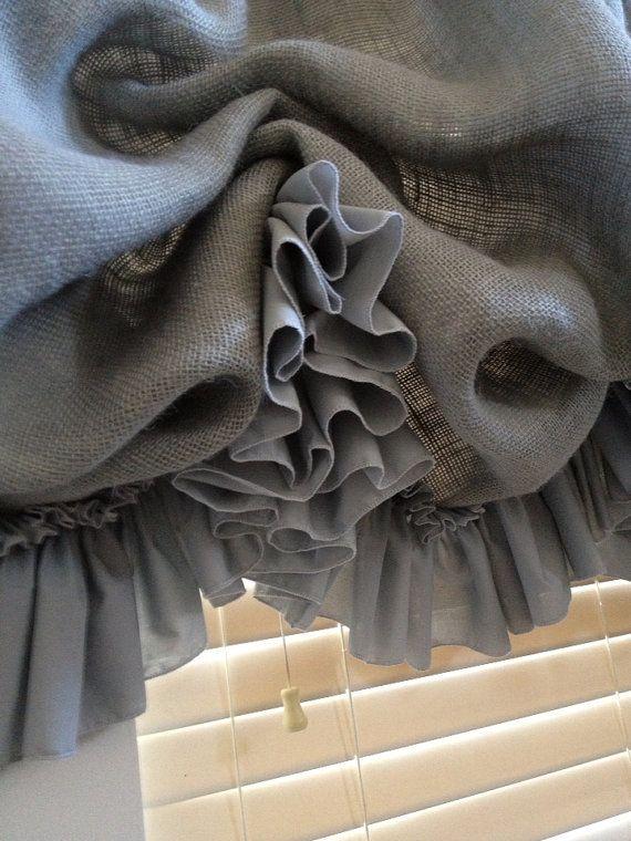 Gray Burlap Balloon Curtain With Gray Ruffle By Mimiandme2