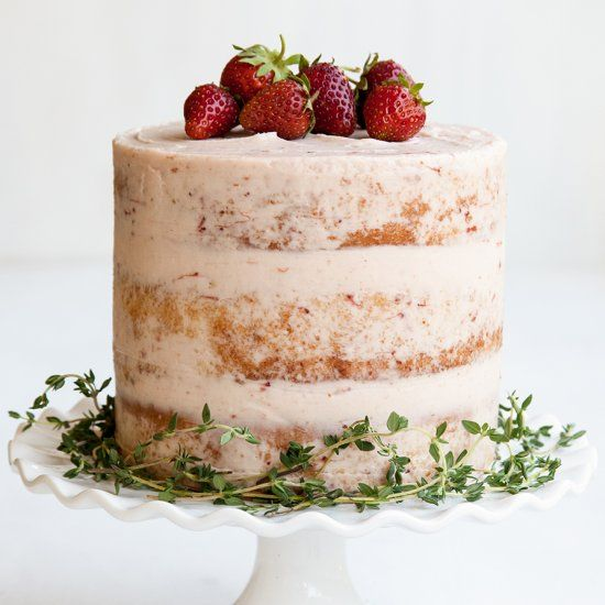 Strawberry Thyme Cake - fresh, lively flavors perfect for berry season!