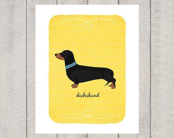 Black and Tan Dachshund Breed Custom Dog Art by HappyTailPrints, $11.00