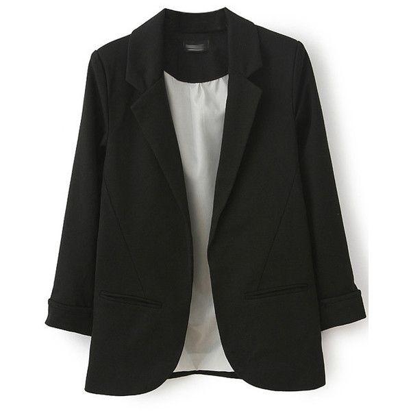LUCLUC Black Boyfriend Ruched Pockets 3/4 Sleeve Blazer (553.540 IDR) ❤ liked on Polyvore featuring outerwear, jackets, blazers, 3/4 sleeve black blazer, boyfriend blazer, pocket jacket, black boyfriend jacket and three quarter sleeve blazer