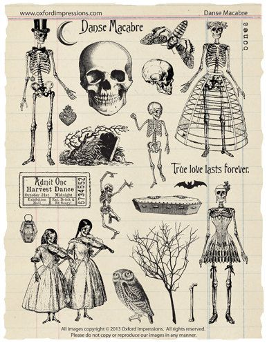 Danse Macabre – Skeleton Ball rubber stamp collection