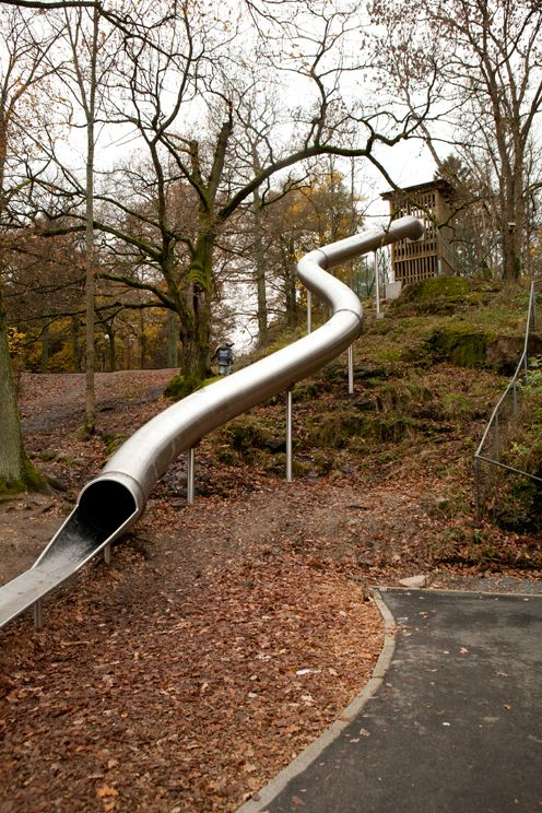 Tunnel slide at Plitka Park, which is also home to the Monstrum whale playground