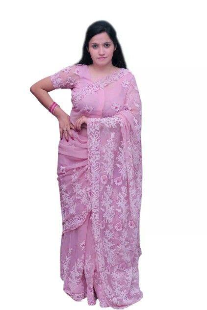 Pink Georgette Saree with Heavy Chikankari