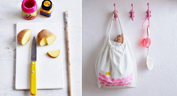 Des #tampons pommes de terre pour customiser mon tote bag
