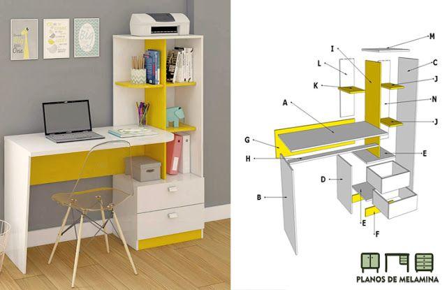 Planos De Mueble Haz Tu Escritorio Librero Facil Planos De Muebles Muebles Muebles Para Tv Minimalistas