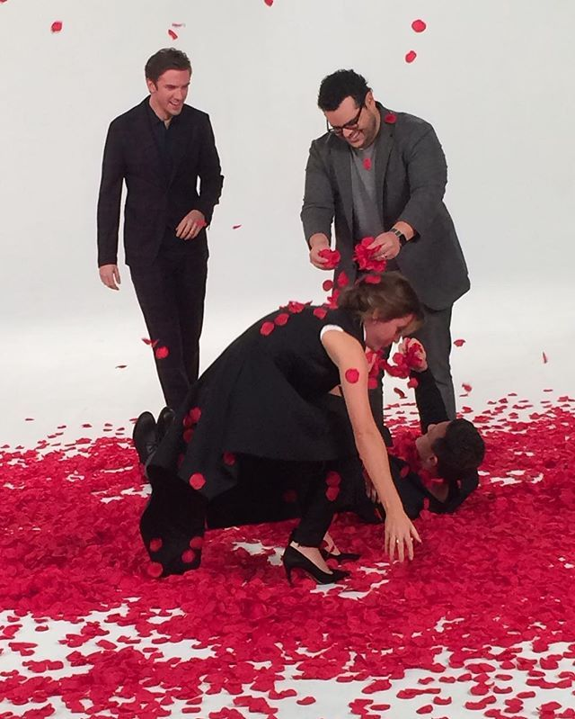 Being covered in rose petals by the gang, they'll do anything to stop me singing. #BeautyAndTheBeast | Posted by Luke Evans