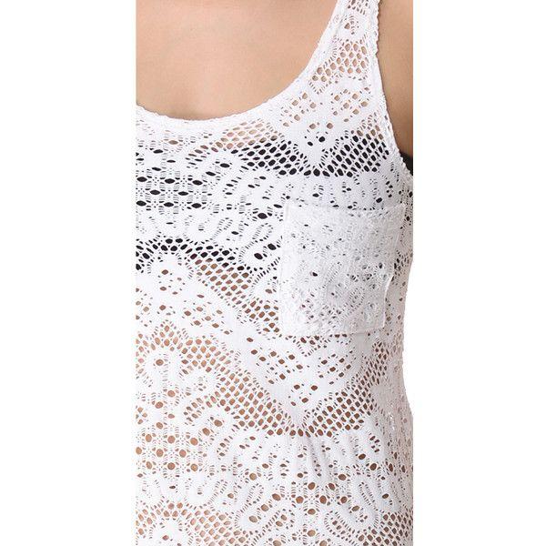 Bettinis Crochet Cover Up Dress ($36) ❤ liked on Polyvore featuring swimwear, cover-ups, crochet bikini cover up, bikini cover ups, see through bikini, crochet cover-ups and beach cover up